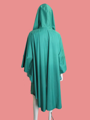 1980's Turquoise Hooded Rain Cape