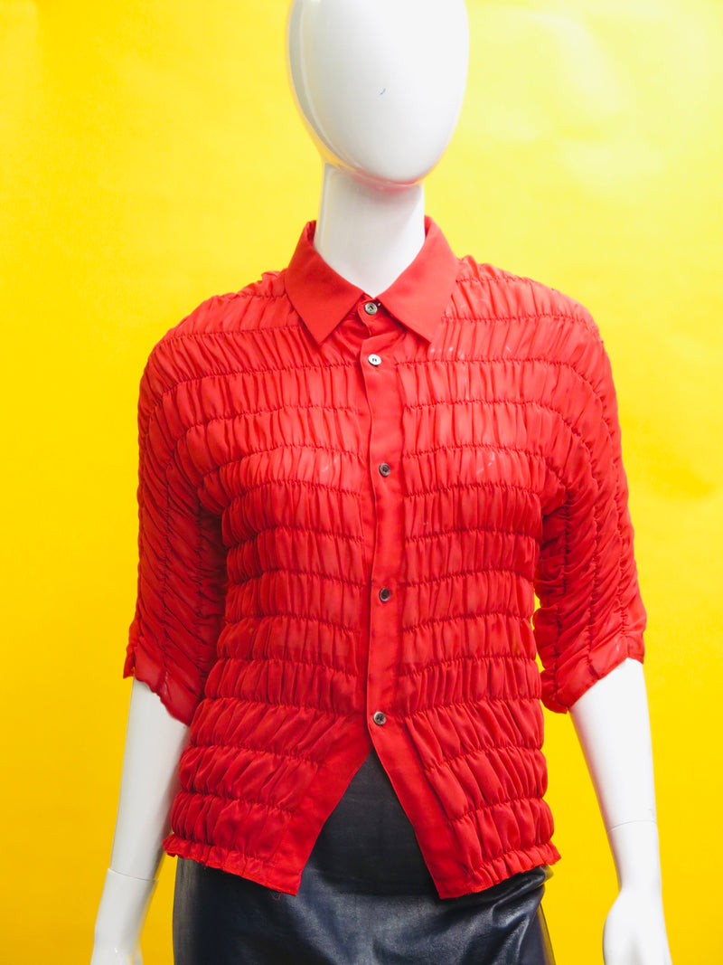 Comme Des Garcons Cherry Red Curtain Pleated Button Down Blouse
