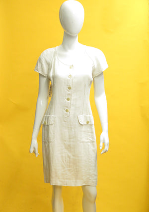 1980's Valentino White Linen Shift Dress