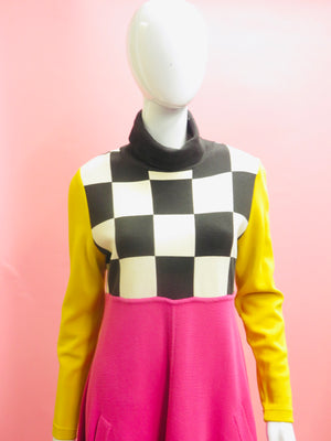 1960's Bill Blass Check & Color Block Tunic Dress