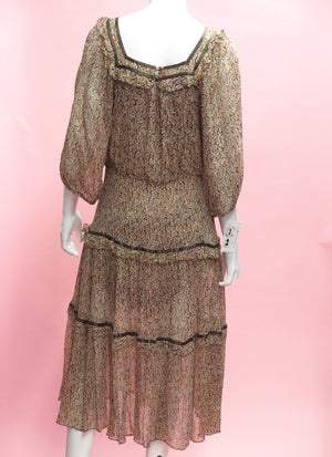 1970's Raina Dante Tiered Peasant Dress