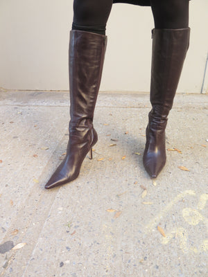 1990's Isaac Mizrahi chocolate Brown boots