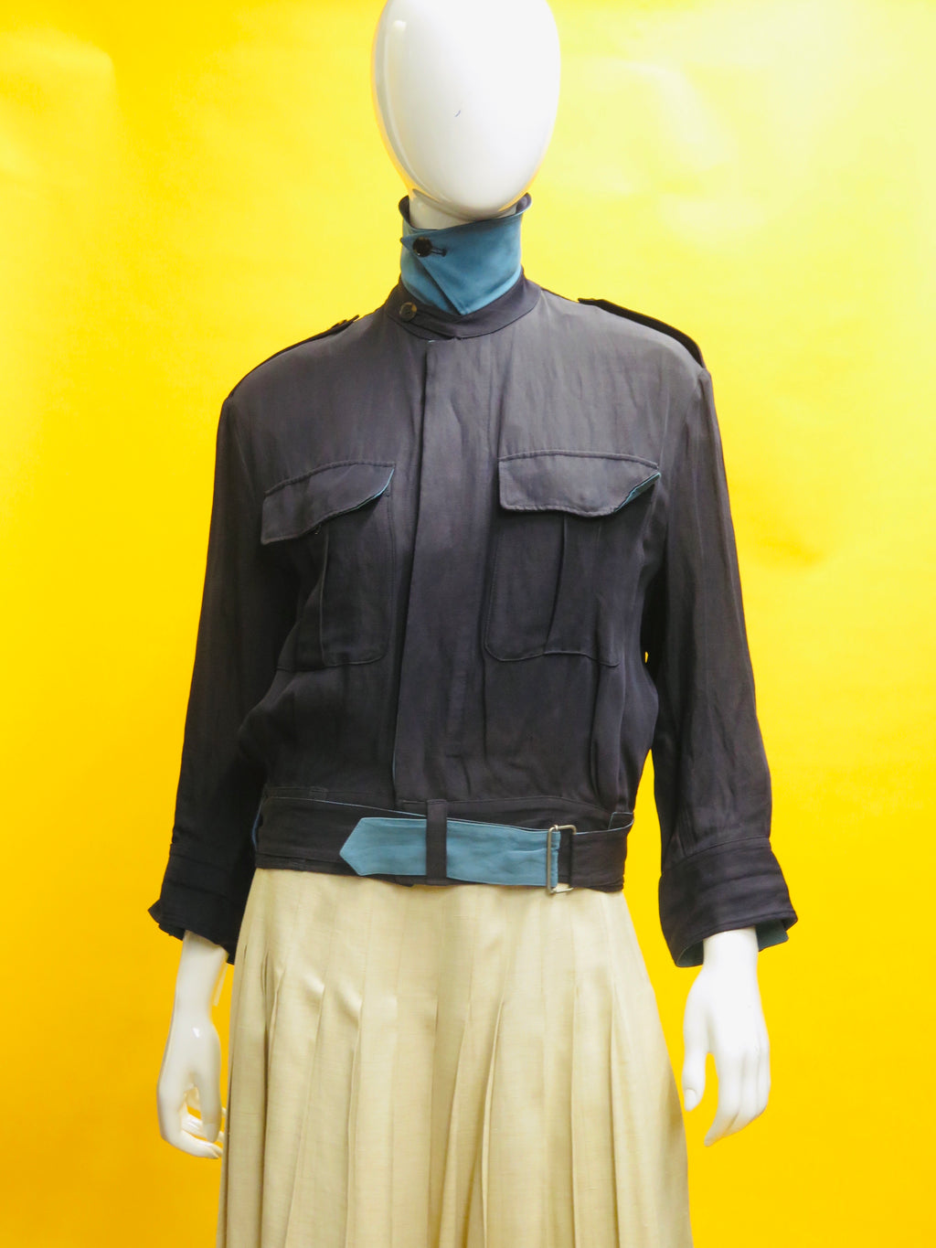 Jean Paul Gaultier Two Tone Blue Linen Moto Jacket