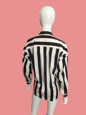 1990s Norma Kamali Black & White Striped Button front Blouse