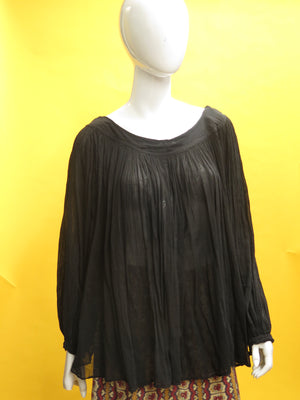 1970's Fine Gauzy India Cotton Flowing Tunic Top