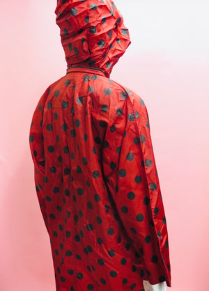 1990's French Red Polka Dot Anorak Jacket