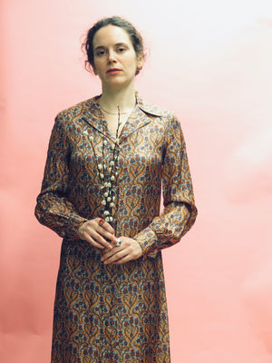 1970's Silk Liberty Print Floral Duster Dress