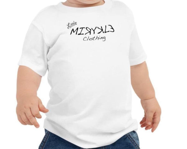 Little MIRYKLE Clothing Co Babies white comfortable t-shirt with black MIRYKLE Clothing Co