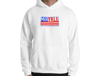 Grey hoodie with MIRYKLE Clothing Co flag