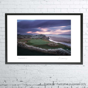 A framed photo of the 3rd at Trump Aberdeen by Kevin Murray.