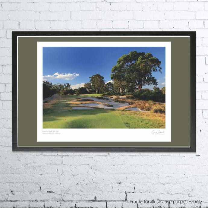 A framed and mounted print of Kingston heath Golf Club by Gary Lisbon