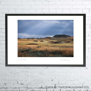 A framed photograph of the 2nd hole at Carnoustie as shot by Kevin Murray.