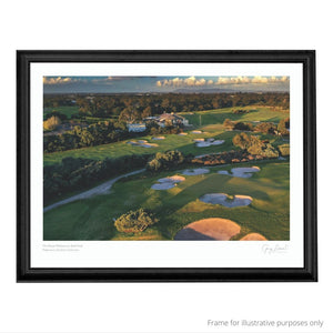 A black framed print of The Royal Melbourne Golf Club West
