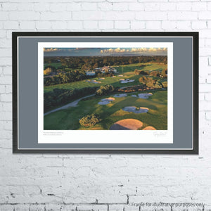 A framed and mounted example of The Royal Melbourne Golf Club West by Gary Lisbon