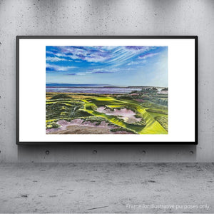 A hung framed oil painting of the Rushes, the new 15th hole at Royal Liverpool Golf Club Hoylake by Simon Dalby.