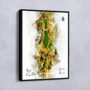Hole 17 watercolour of Royal Cinque Ports Deal shown as a float frame canvas.