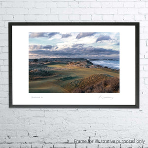 A photo of the 4th hole at Portmarnock taken by Kevin Murray shown framed.