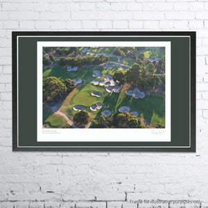 A framed and mounted print of Huntingdale Golf Club, Melbourne by Gary Lisbon