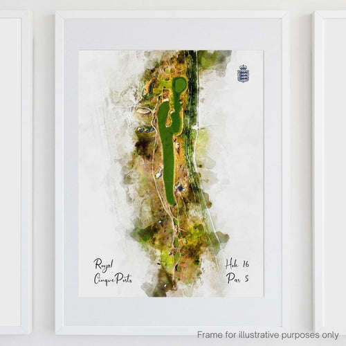 Hole 16 watercolour of Royal Cinque Ports Deal shown framed.