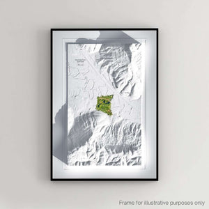 Framed print showing Sweetens Cove Golf Club as a 3D WaterMap by Joe McDonnell