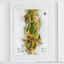 Load image into Gallery viewer, Hole 17 watercolour of Royal Cinque Ports Deal shown framed.