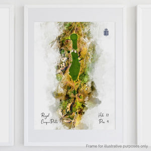 Hole 17 watercolour of Royal Cinque Ports Deal shown framed.
