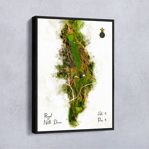 Hole 4 modern watercolour of  Royal North Devon Westward Ho! shown as a float frame canvas.