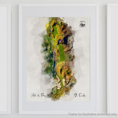 Framed modern watercolour print of the 6th hole at St Enodoc Golf Club.