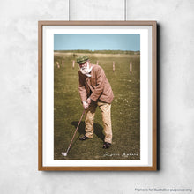 Load image into Gallery viewer, A colourised photo of Old Tom Morris hung for illustrative purposes.