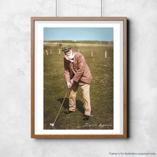 A colourised photo of Old Tom Morris hung for illustrative purposes.