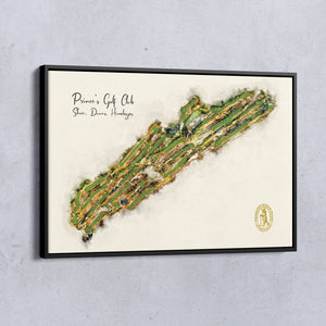 A complete course map of Princes Golf Club showing Shore, Dunes and Himalayas as a float frame canvas.
