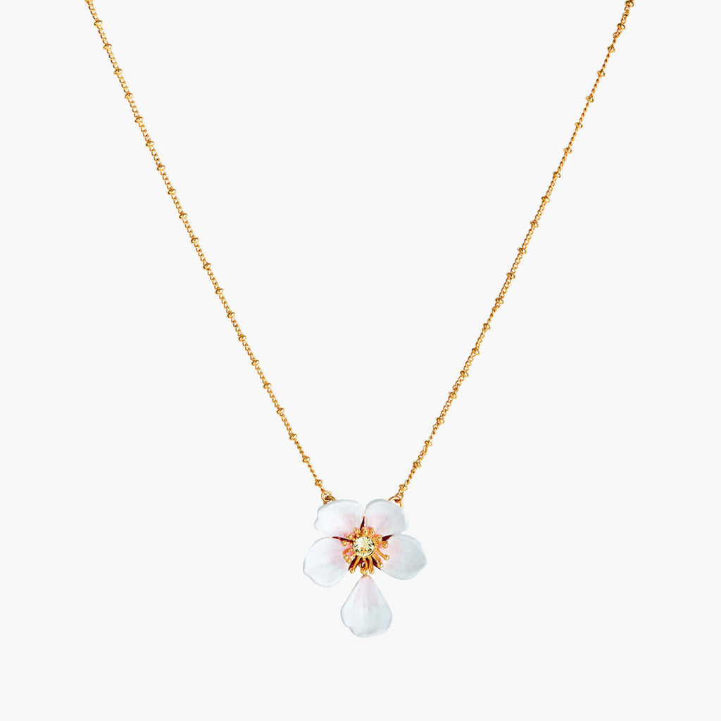 Japanese white cherry blossom and petal pendant necklace