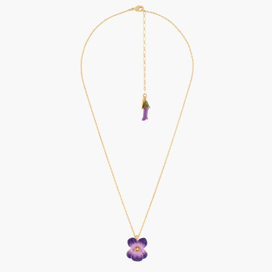 Violet and Flower Button Pendant Necklace
