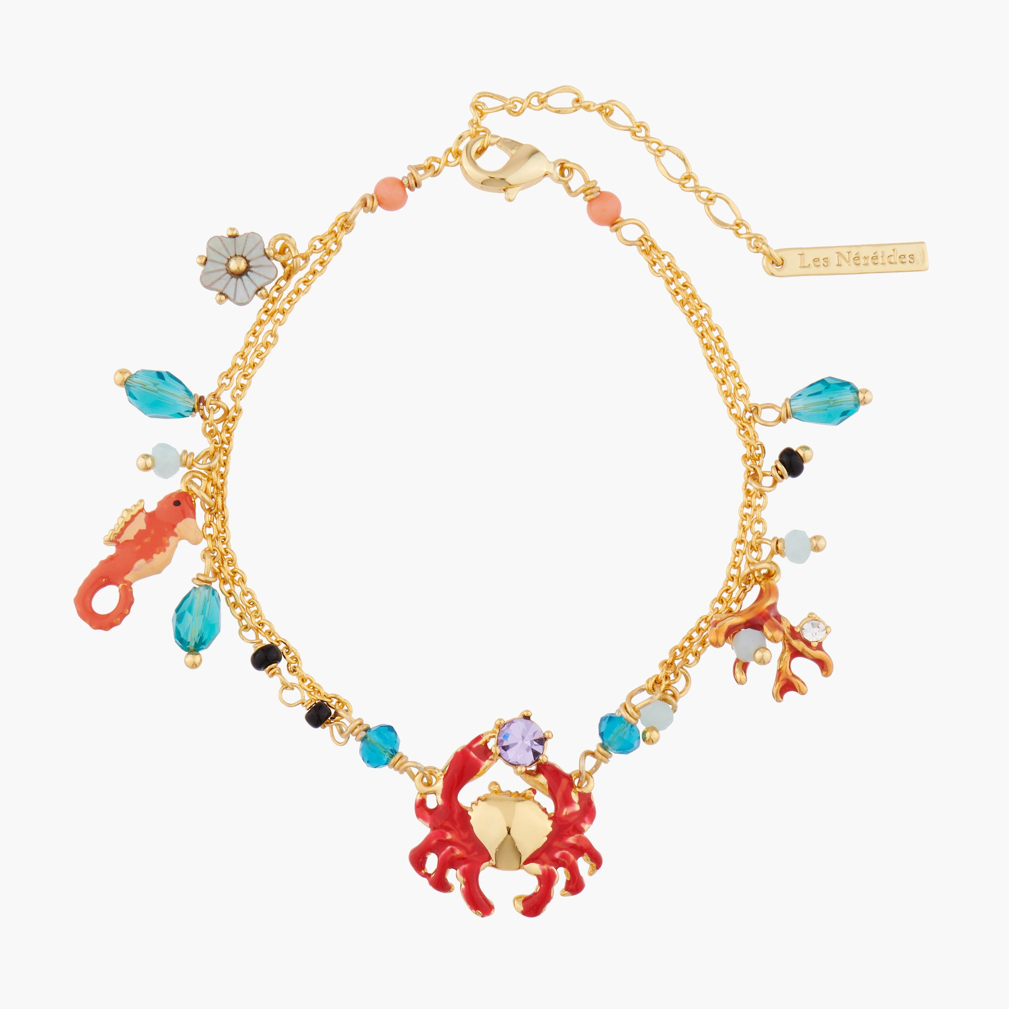 Little Crab, Seahorse, Coral and Pearls Charms Bracelet