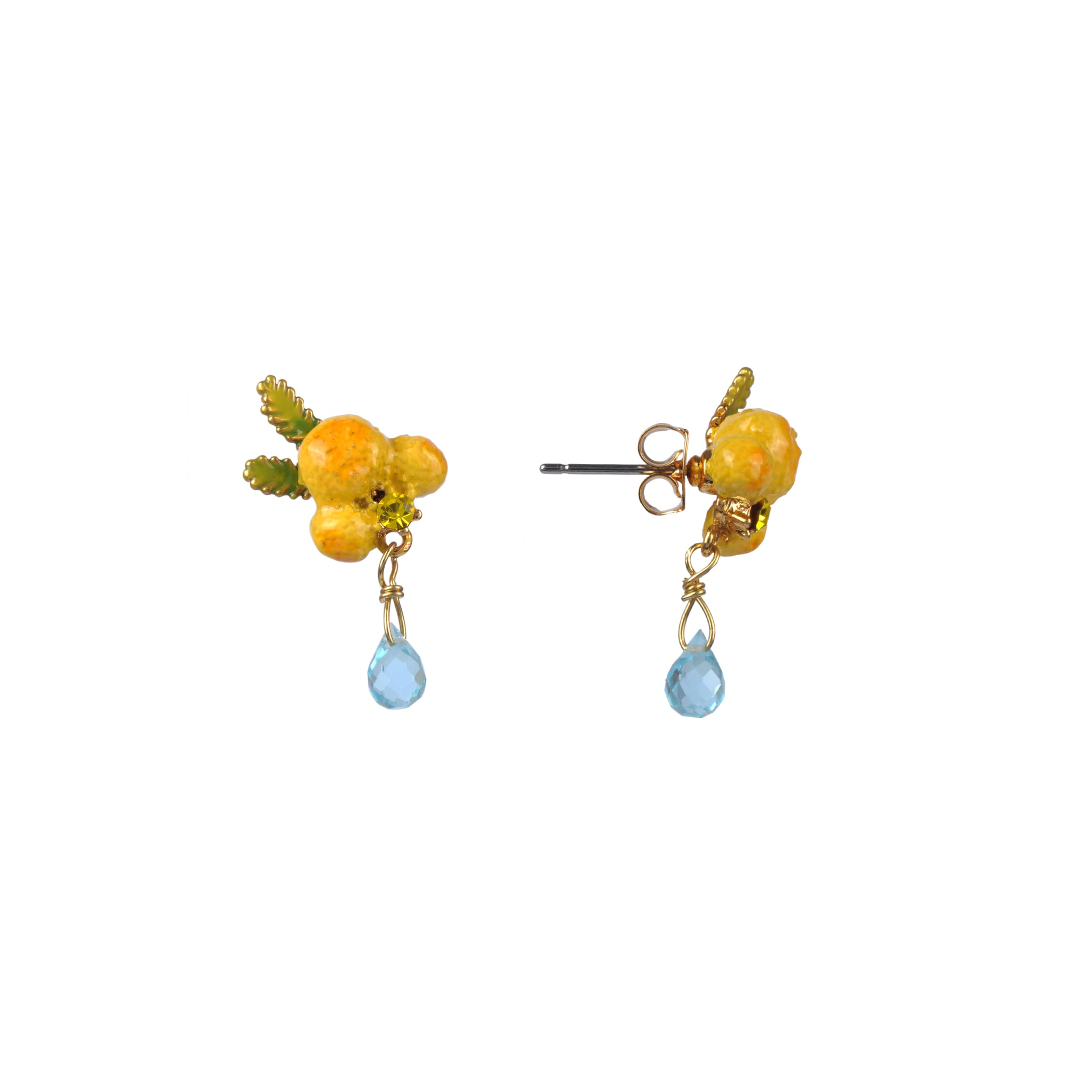 Mimosa Flower and Leaves Stud Earrings