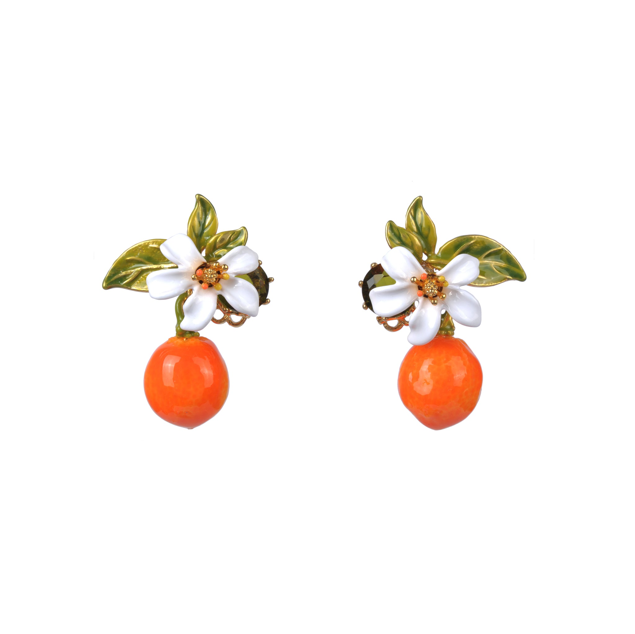 Orange and Orange Blossom Stud Earrings