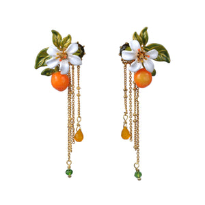 Orange, Orange Blossom and Chains Stud Earrings