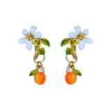 Orange and Orange Blossom Baroque Style Earrings