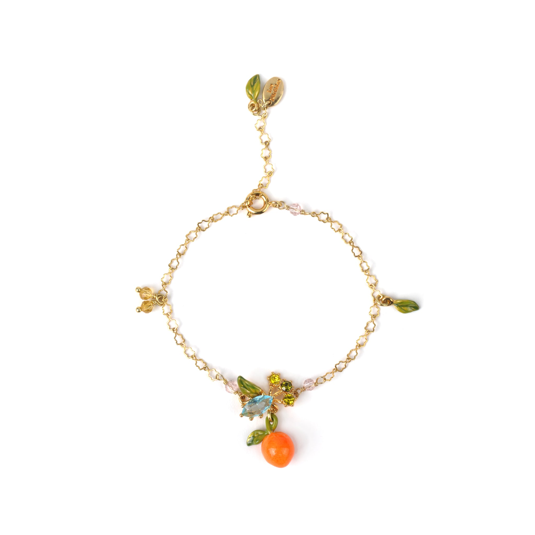 Orange and Little Leaves Thin Bracelet