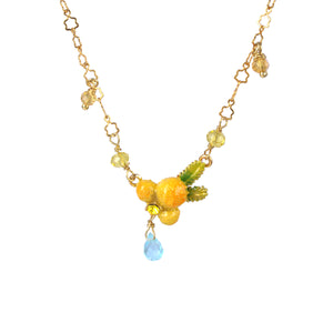 Mimosa Flower and Little Pearls Pendant Necklace