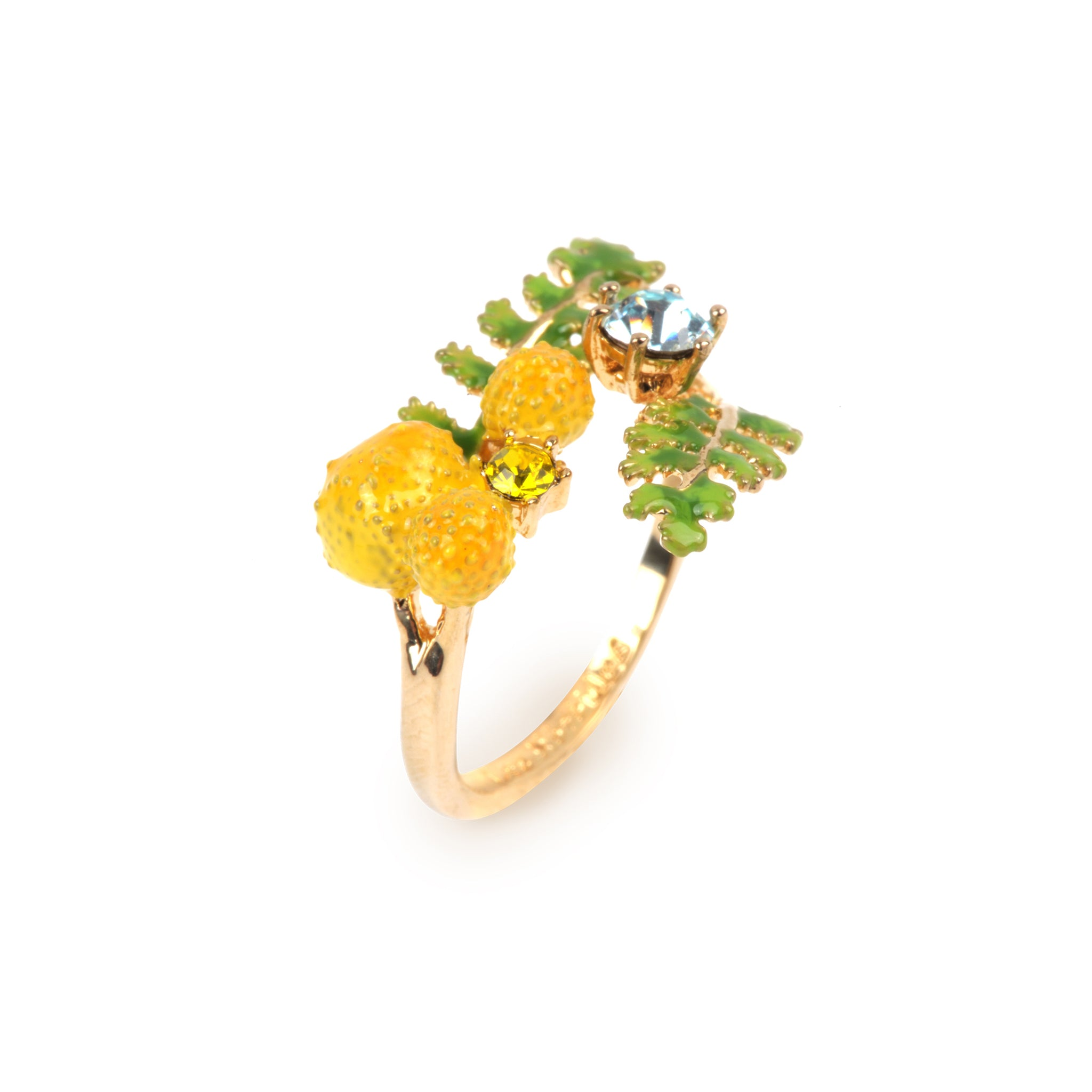 Ferns and Mimosas Flower Adjustable Ring