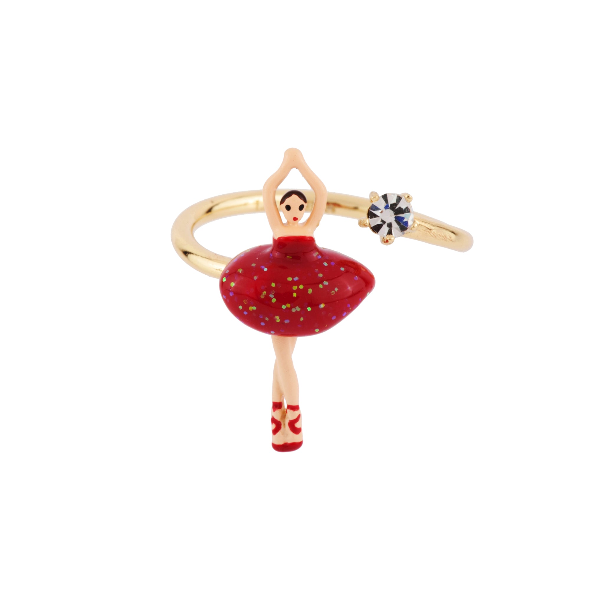 Adjustable Ring Mini Ballerina in a Red Tutu