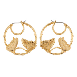 Small Hoop Earrings Butterflies Duo