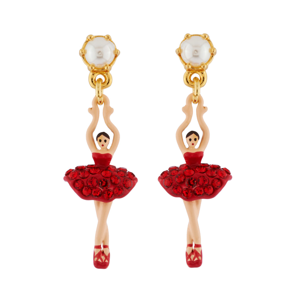 Earrings Mini Ballerina in a Tutu Paved with Red Rhinestones