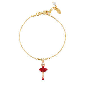 Bracelet Mini Ballerina in a Tutu Paved with Red Rhinestones