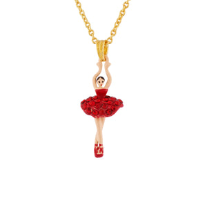 Necklace Mini Ballerina in a Tutu Paved with Red Rhinestones