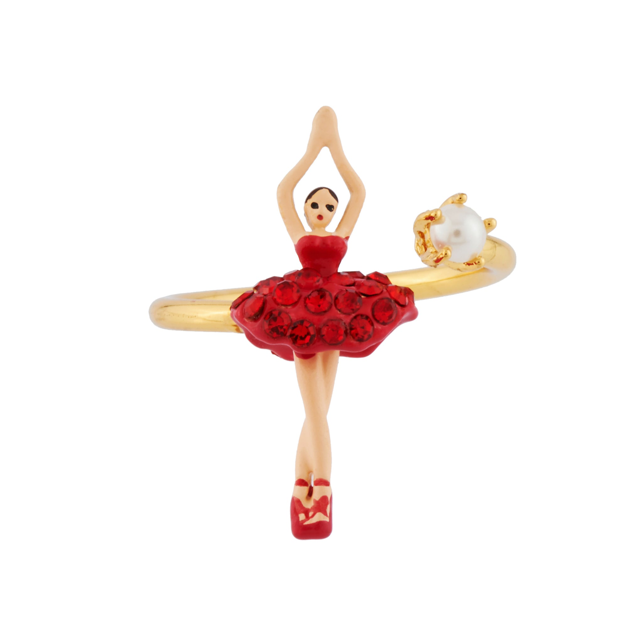 Adjustable Ring Mini Ballerina in a Tutu Paved with Red Rhinestones