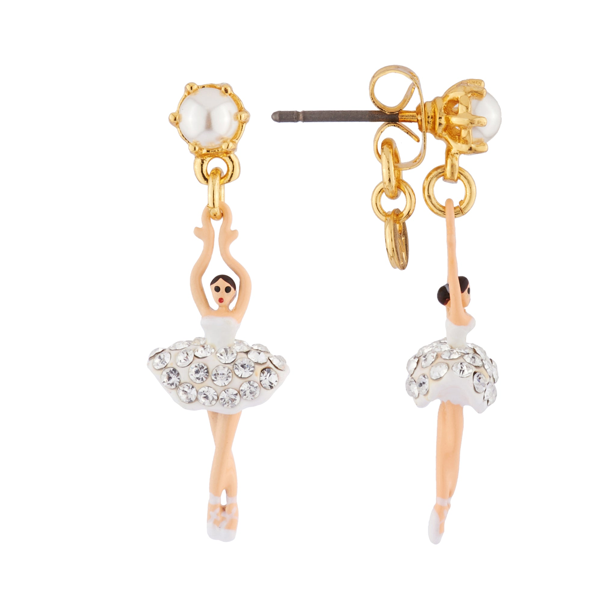 White mini Ballerina Stud Earrings with Rhinestones and Pearl