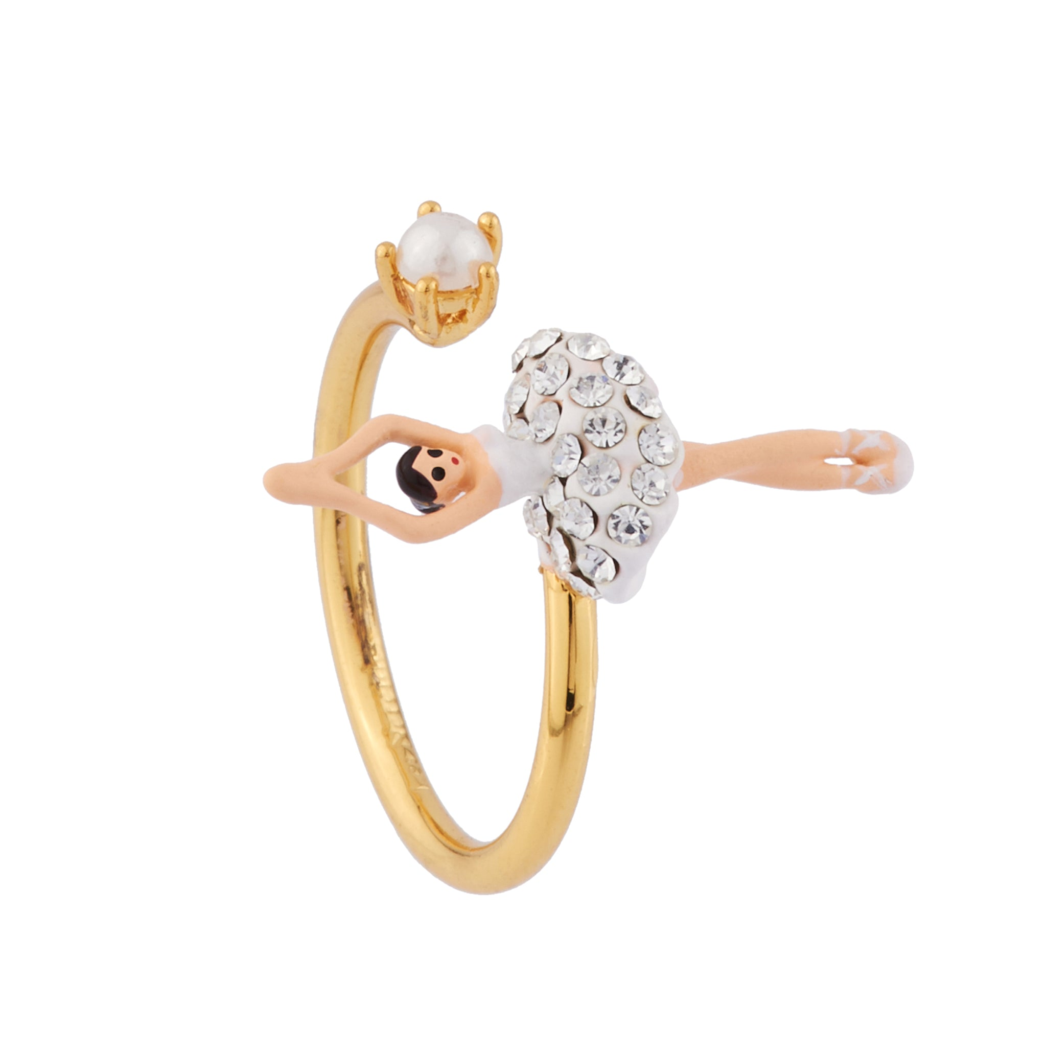 White Mini Ballerina Adjustable Ring with Rhinestones and Pearl