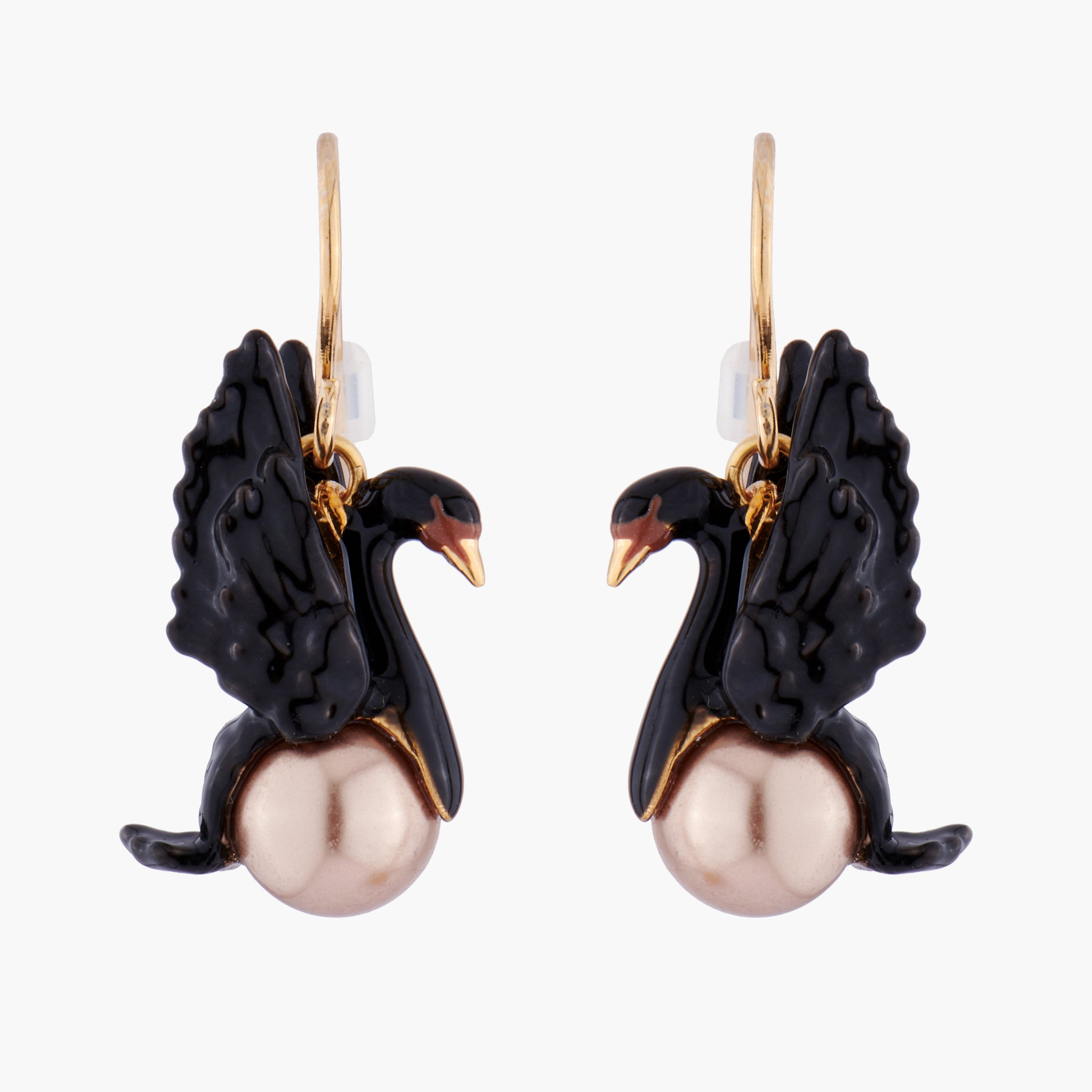 Black Swan and Baroque Pearl Dangling Hook Earring